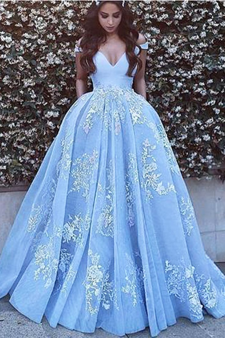 Beautiful v-neck blue tulle prom dress, off the shoulder prom dress, ball gowns wedding dress