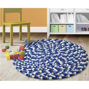 Pom Pom Round Rug in Blue - 60cm