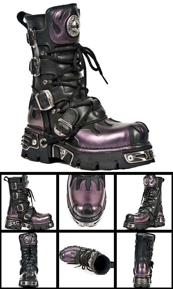 Gothic New Rock Boots M591 Very Gothic the Purple Flame Mid Calf Boot come with four buckles, laces, Reactor Sole with front and back plates, new rock badge on upper and zip fastening, black with purple flame highlights on toe, heel and upper. From ANGEL CLOTHING