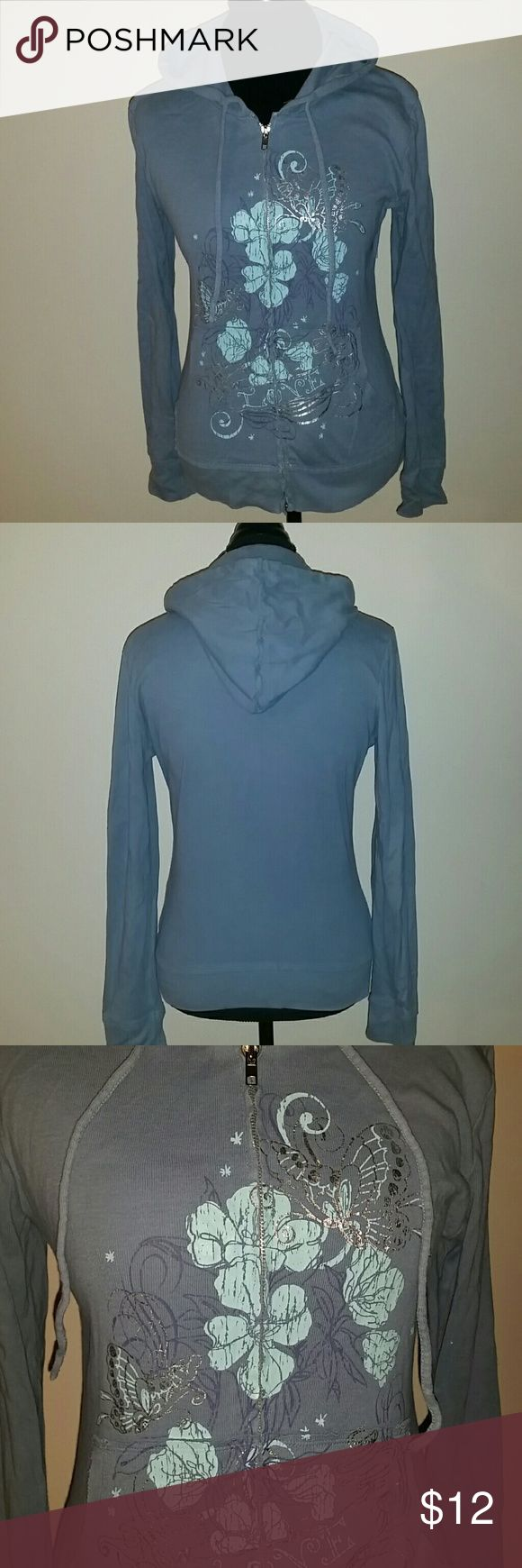 Dusty Blue Zip Up Dusty blue zip up with silver and blue floral/butterfly design, drawstring hoodie, front pockets. Gently worn, good condition. lei Tops Sweatshirts & Hoodies