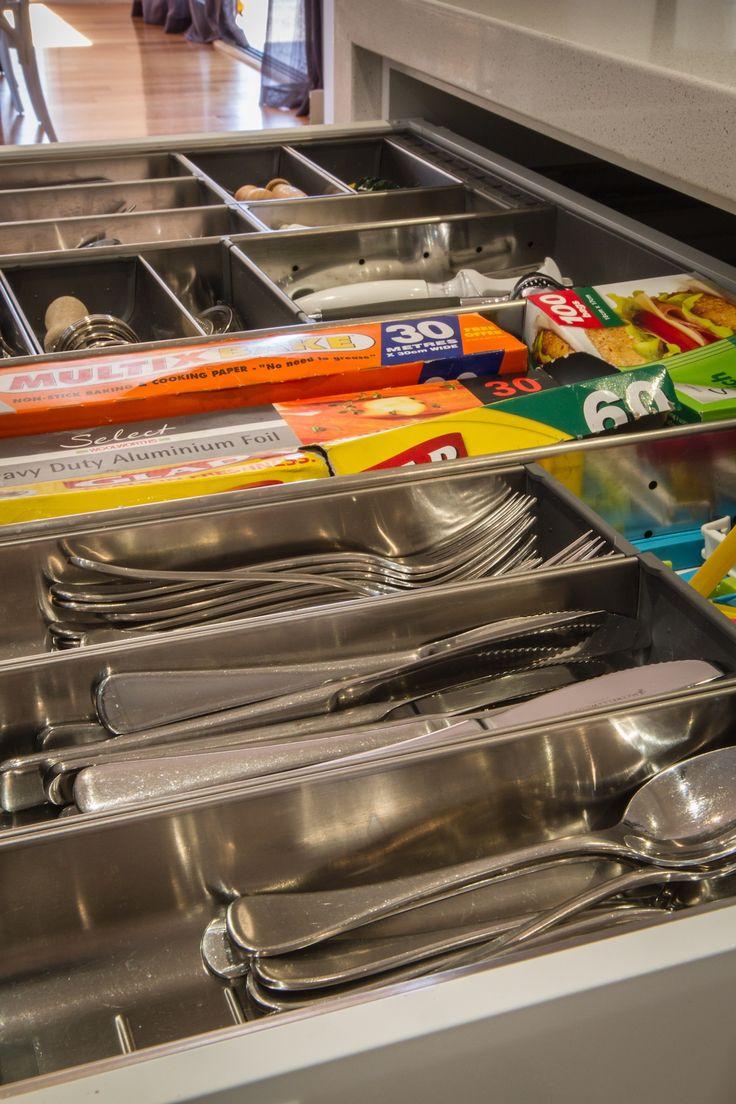 White modern kitchen. Utensil drawer. Blum organ-line inserts. Cutlery insert. www.thekitchendesigncentre.com.au