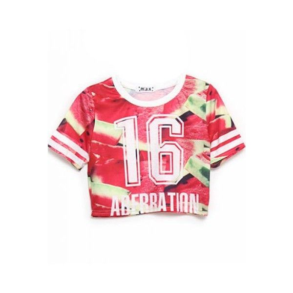 Red Watermelon 16 ABERRATION Print Crop Tee ($22) ❤ liked on Polyvore featuring tops, t-shirts, red t shirt, print tees, crop t shirt, crop top i crop tee