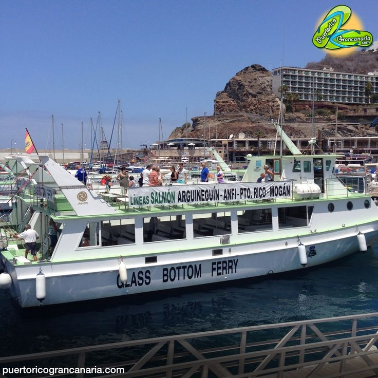 Salmon Lines | Class bottom Ferry - Located in Puerto Escala opposite the beach in the tourist area of ​​Puerto Rico in the south of Gran Canaria, Lineas Salmon provide maritime transport between the villages of Mogan. Dan quick and cheap service with 48 daily departures, white and green boats are well known in the area, being especially popular with tourists and also offer a beautiful view of the local coastline.