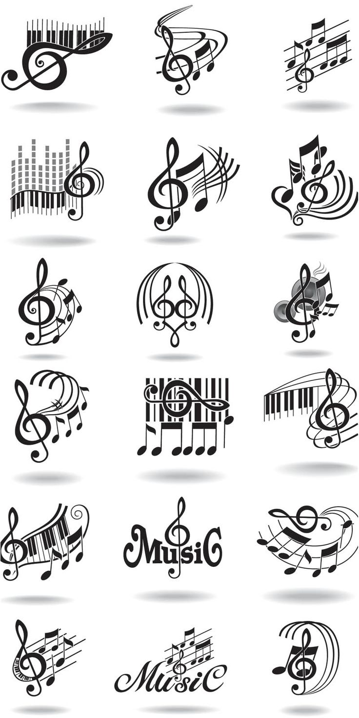 Collection of musical images which illustrate a treble clef in different interpretations on the background of waving lines, piano keys and notes. Free download.
