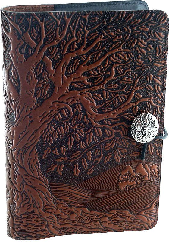 "Ancient Oak Tree Leather Journal - Massive oak tree design actually continues on the spine and back of this journal. Pewter button has oak leaf and acorn. The journal measures 6"" by 9"".  #GryphonsMoon"