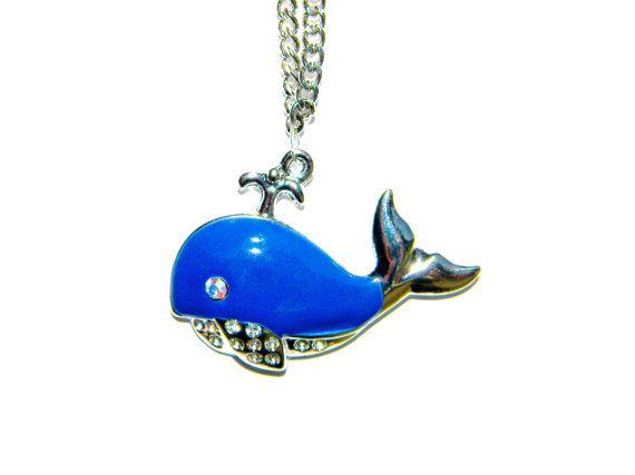 Big Blue Whale Pendant Necklace by PiercedNPretty on Etsy