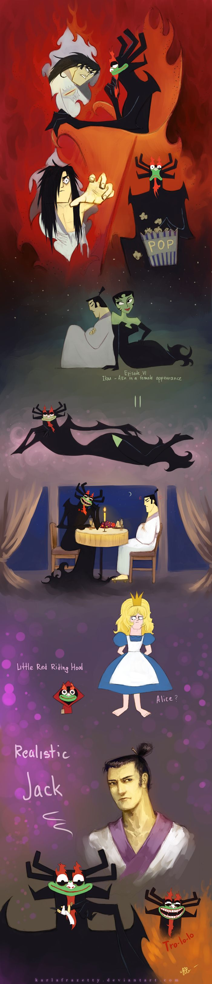 Samurai Jack and Aku by KarlaFrazetty.deviantart.com on @DeviantArt