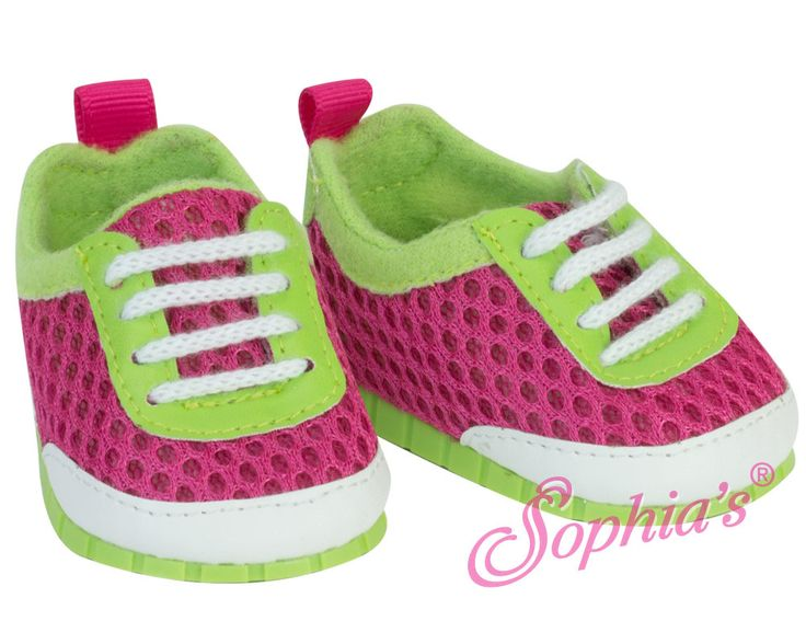 Your doll will look forward to running and going to the gym wearing these bright pink & green athletic mesh sneakers!  And there's no tying of laces, they simply slip on.