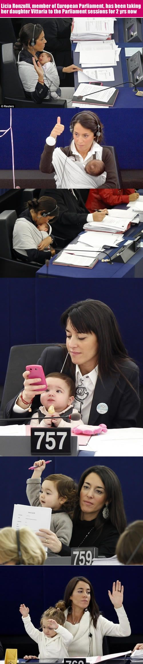 Motherhood at its best.--Licia Ronzulli, member of European Parliament, has been taking her daughter Vittoria to the Parliament sessions for 2 yrs now. Mother with a Career!