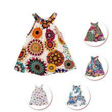 Vestido de menina, vestido de festa casual de algodão estampa floral estilo de verão 18 padrões para menina bebê 2-8 anos, vestidos infantis, roupas para menina, criança(China (Mainland))