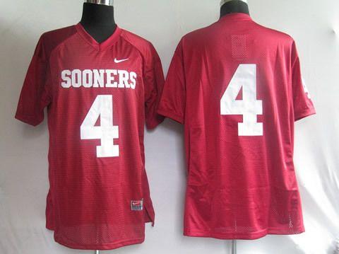 Men's NCAA Oklahoma Sooners #4 Red Jersey