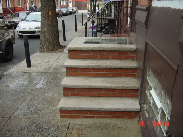 Brick steps |with tiled platform that Dependable Concrete and Cement Work completed in south Philadelphia, brick steps Philadlephia, brick steps in Philadelphia, We replaced the damaged  brick steps steps with new  brick steps steps in Philadelphia. We are masonry contractors that specialize cement and concrete work also. We do all types of other masonry or concrete construction and cement work. Visit my website to see all the other types of specialized masonry, concrete and cement work we…