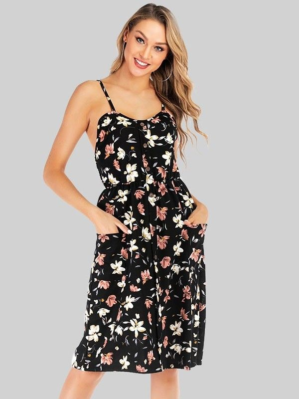 57c7408a77cc Dresswel Women Sling Open Back High Waist Ruffle Hem Floral Print Midi Dress  $16.99 #dresswel #women #fashion #dress #cute #elegant #beauty