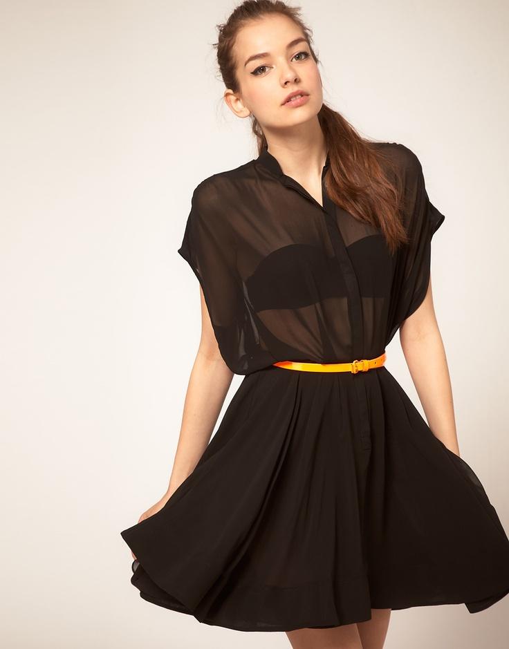 asos shirt dress: Sheer Black, Style, Shirts, Clothes, Black Shirt Dresses, Circle Exclusive, Black Dress, Black Shirtdress