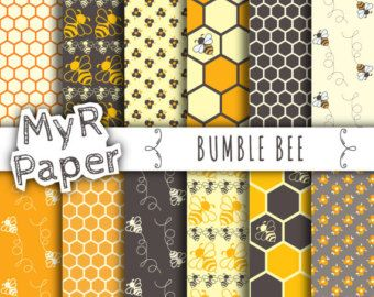 Bee digital paper: BUMBLE BEE with bee images honeycomb by Grepic