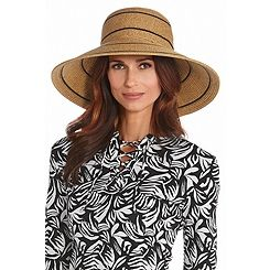 Elegant wide 5 inch brim sun hat with total UV protection. UV Straw Hats made with crushable construction for easy travel in stylish colors and chic looks.