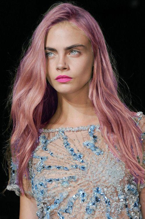 cara delevingue pink hair