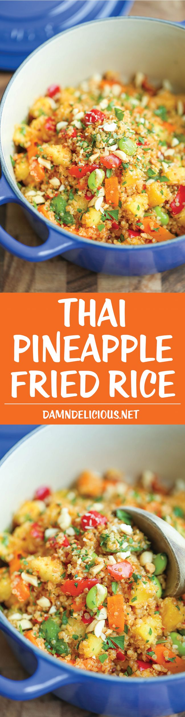 Thai Pineapple Fried Rice - Finally, a healthy, hearty fried rice made with quinoa! And it comes together in just 10 minutes - no dicing or chopping here!