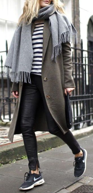 #winter #fashion / olive coat + stripes