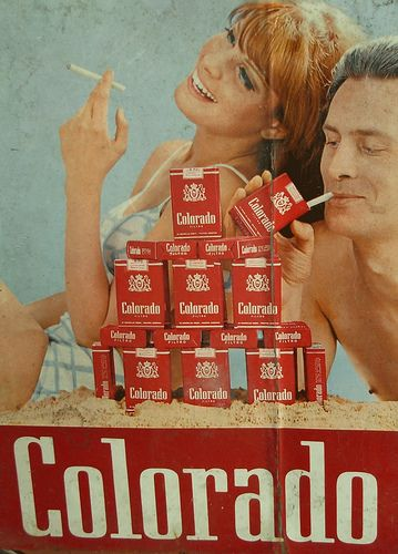 Letrero cigarrillos Colorado, Carroza Antiguedades