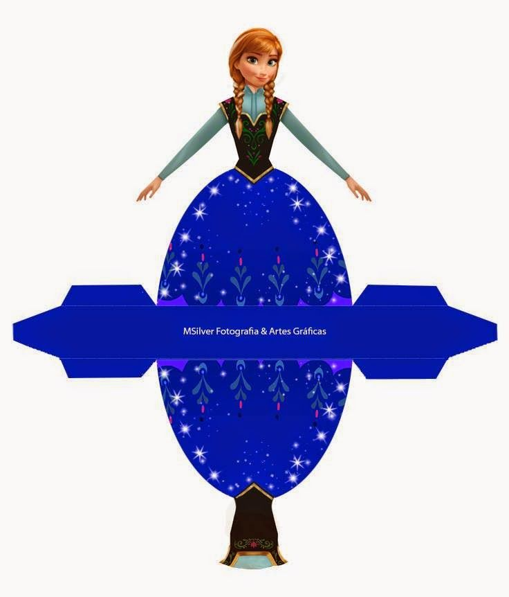 Anna from Frozen: Free Printable Dress Shaped Box.