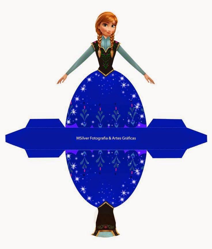 Frozen: Caja con forma de Vestido de Ana, para Imprimir Gratis.