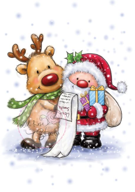 ❤️CHRISTmas Santa and Rudolph ~ Wild Rose Studio