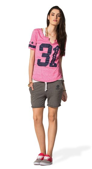 THIS LONG VARSITY TEE OVER A PAIR OF COMFY AND EASY FLEECE SHORTS CAN BE THE IDEAL MATCH IF YOU'RE PLANNING TO SPEND SOME TIME OUT WITH YOUR FRIENDS! #franklinandmarshallofficial #franklinandmarshall #womenswear #ss15