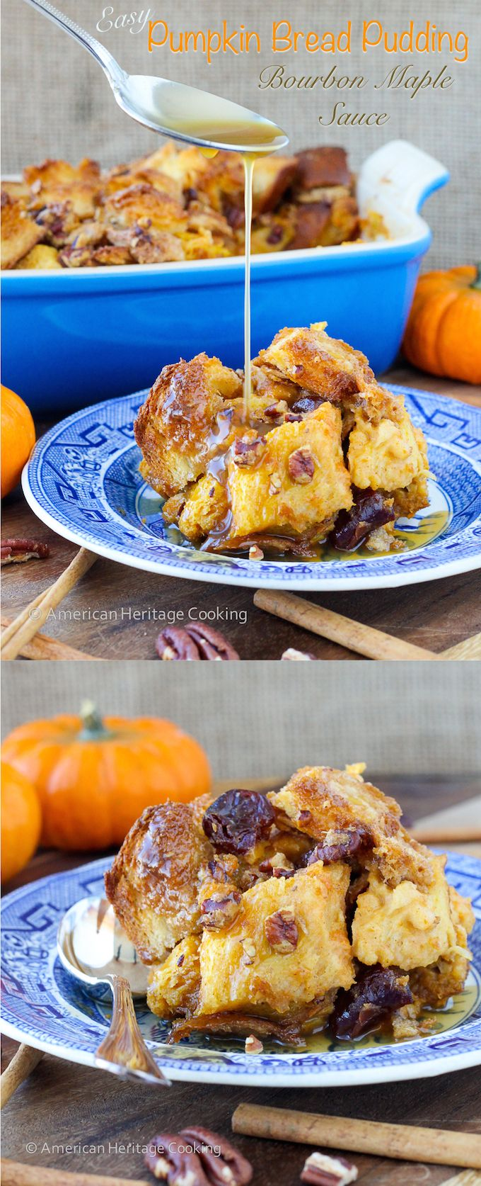 Easy Pumpkin Spice Bread Pudding with Maple Bourbon Cream Sauce  Yummy for Thanksgiving?