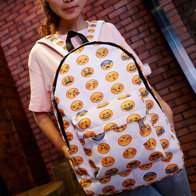 New hot Emoji Backpack 2015 Women/Men's Travel emoji Bags Smiley School Backpacks Bookbag Yellow Z72C7