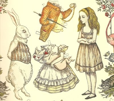 alice in wonderland paper dolls - invitation insert idea...so excited!