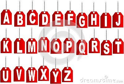 Hanging on a chain letter. White Vector Alphabet.