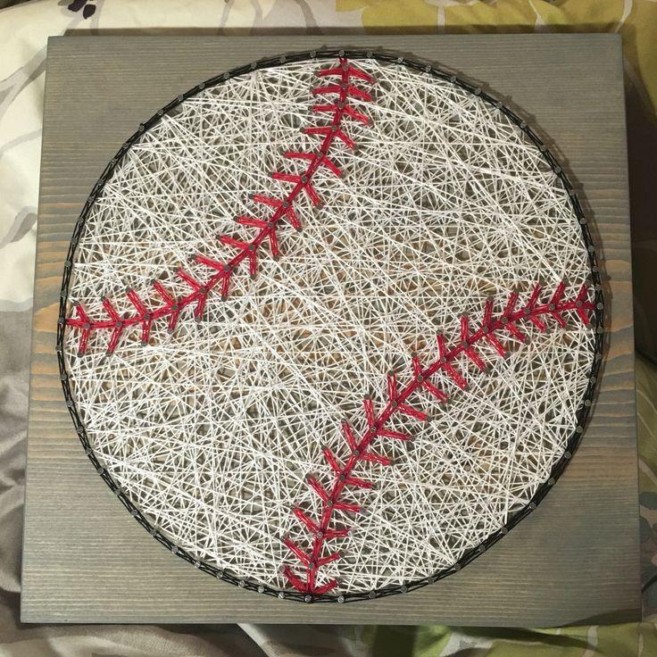 custom sports baseball string art sign sports art wall decor handmade gift made to order nail art