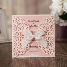 (50 unidslote) Wishmade Tarjeta de Invitación Invitaciones De Boda del Corte del Laser Elegante de Novia Para El Matrimonio Fiesta de Compromiso CW6177
