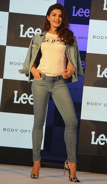 Jacqueline Fernandez in Lee jeans and Louboutin shoes