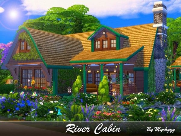 River Cabin by MychQQQ for The Sims 4   the sims 4 cc   Sims