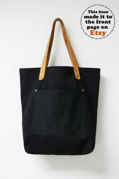 Leathinity - Black Canvas Tote Bag w/ Genuine Leather Handles - Eco Friendly