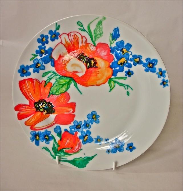 Hand Drawn Floral Poppy Dinner Plate £15.00
