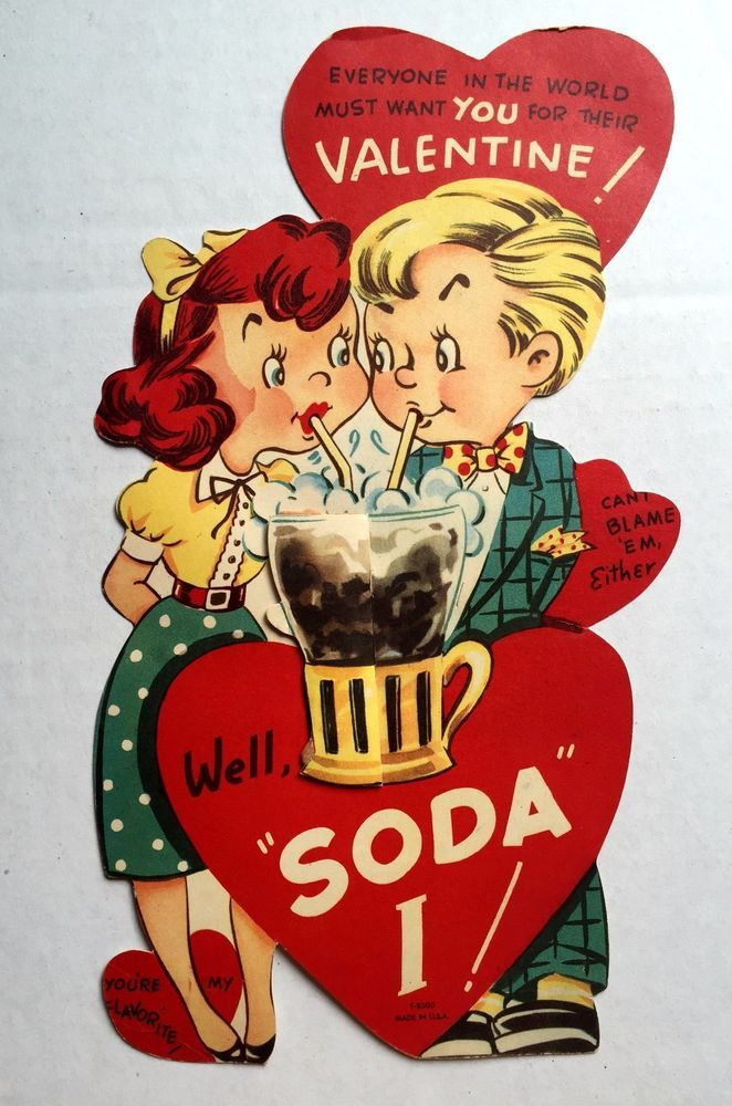 Large 1950s Valentine's Day Card w/ Couple at Soda Fountain w/ Crepe Paper Ball