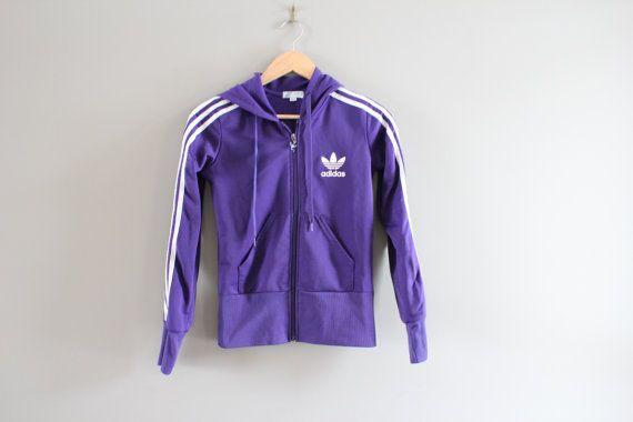 Adidas Hoodie Trefoil Big Logo Purple Hooded by Amilialia on Etsy