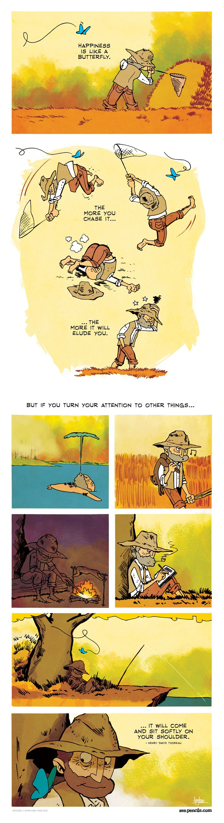 ZEN PENCILS » 80. HENRY DAVID THOREAU: On happiness