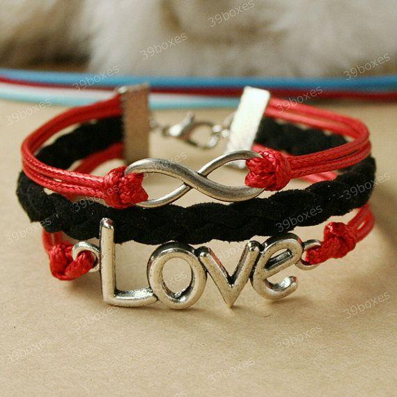 Love Bracelet - infinity bracelet with love charm, red love bracelet for girlfriend, birthday gift