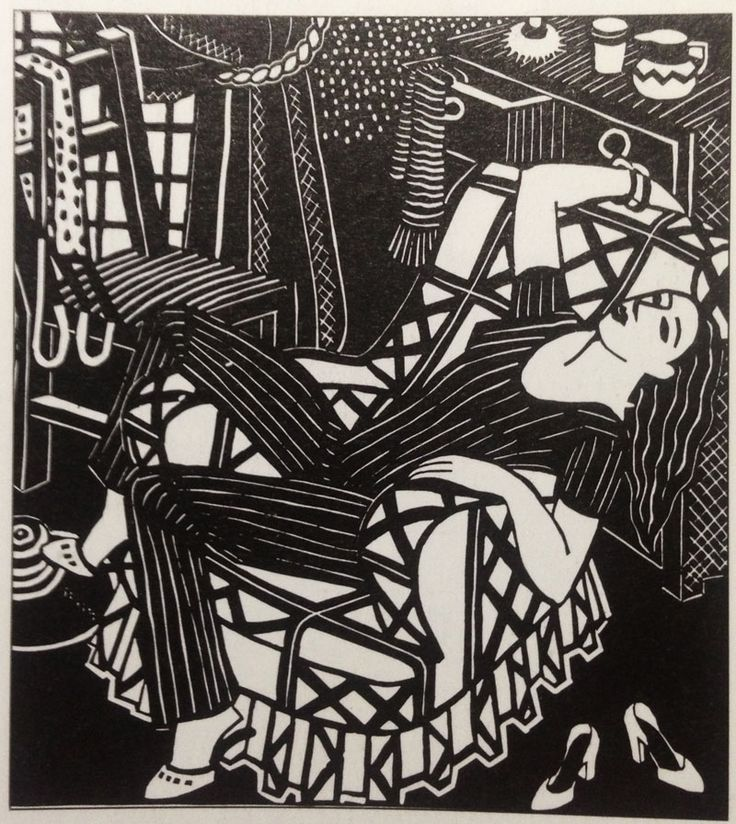 Amie Kingston - Model in Thea's Chair. Linocut made whilst she was a student of Thea Proctor in Sydney, Australia