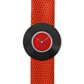 easy going watch with circle case in black, red dial, and red reptile strap. Buy at bofb - best of both - or see many more variations in our store in Amsterdam.