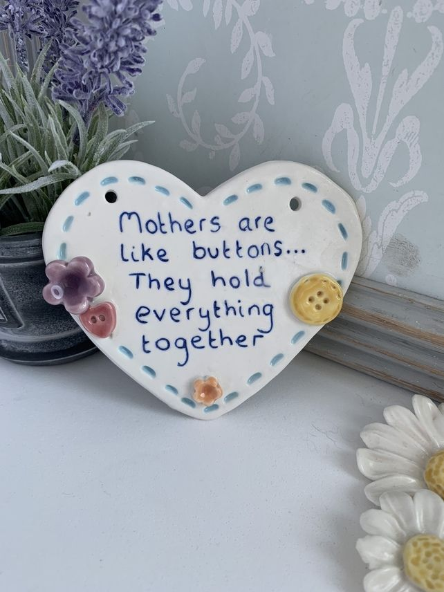 Ceramic Heart Plaque Mother Buttons Porcelain Mothers Day