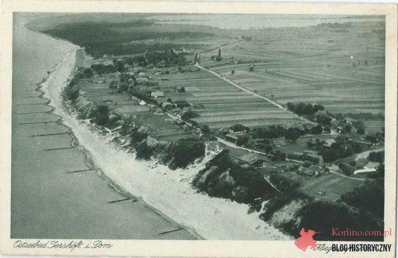 Jarosławiec Kartka pocztowa widok z lotu ptaka, Ostseebad jershoft, Fliegeraufnahme, pocztówka bez obiegu.