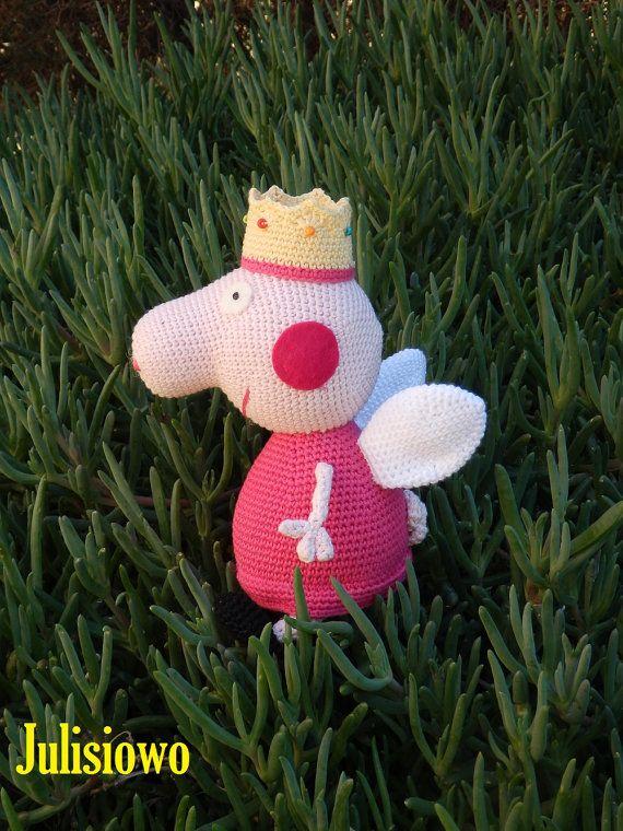 Crochet doll like a  Peppa Pig Princess - PDF pattern