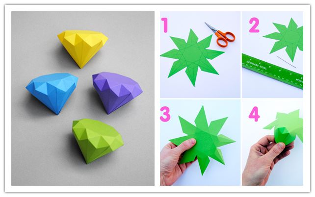 How to make cool diy 3d paper diamonds step by step for How to make easy crafts step by step