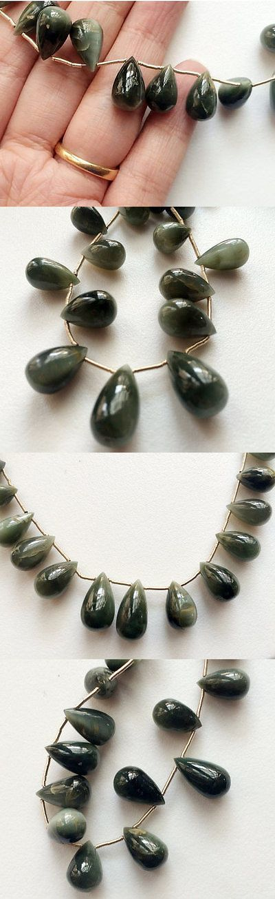 Cats Eye Quartz 69163: 4 Strand Cats Eye Stone, Plain Tear Drops Beads, Chrysoberyl, Cats Eye Necklace BUY IT NOW ONLY: $36.25