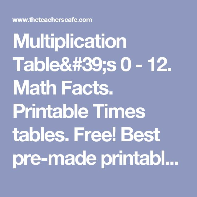 Multiplication Table's 0 - 12. Math Facts. Printable Times tables. Free!  Best pre-made printables, 40 problems